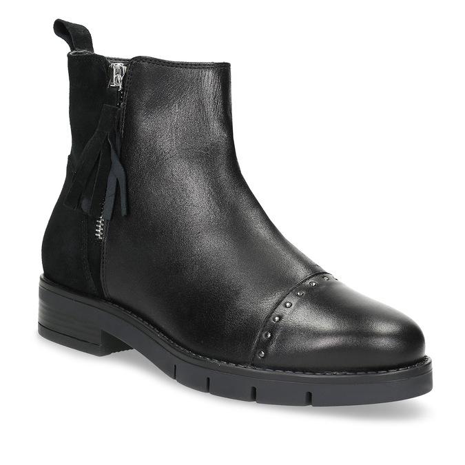 Kožená dámska členková obuv so strapcami flexible, čierna, 593-6195 - 13