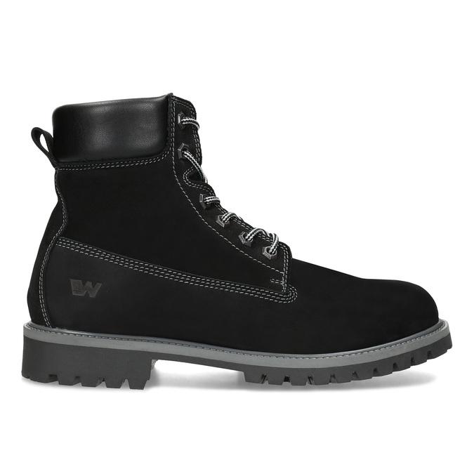 Pánska kožená členková obuv s prešitím weinbrenner, čierna, 896-6733 - 19