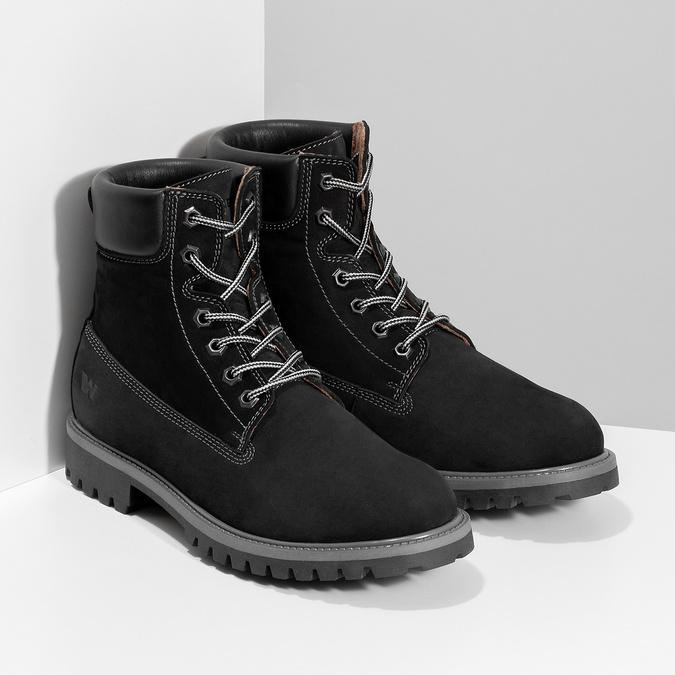 Pánska kožená členková obuv s prešitím weinbrenner, čierna, 896-6733 - 26