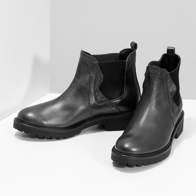 Kožená dámska Chelsea obuv s kovovými cvočkami bata, šedá, 596-9734 - 16