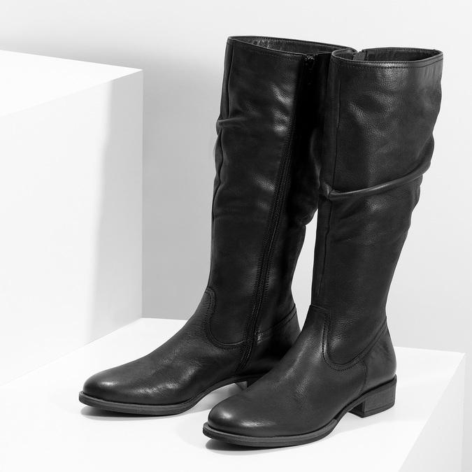 Dámske kožené čižmy s riasením bata, čierna, 596-6700 - 16