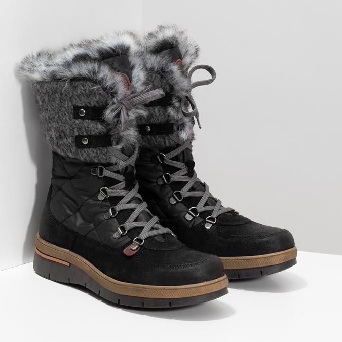 Dámska čierna zimná obuv s kožúškom weinbrenner, čierna, 596-6755 - 26