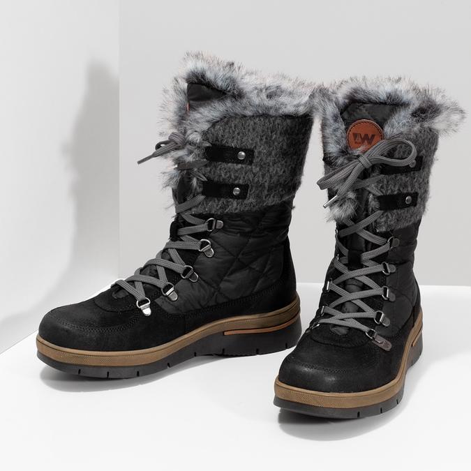 Dámska čierna zimná obuv s kožúškom weinbrenner, čierna, 596-6755 - 16