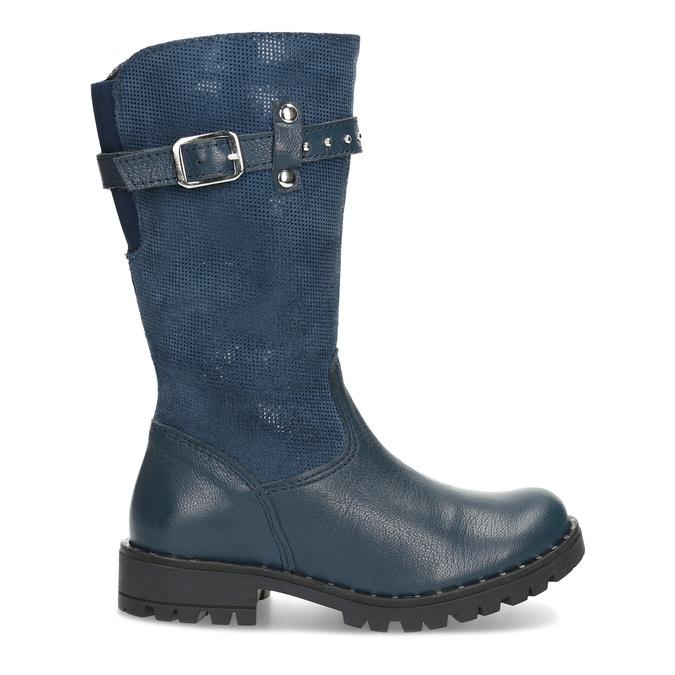 Dievčenské kožené modré zimné čižmy mini-b, modrá, 394-9200 - 19