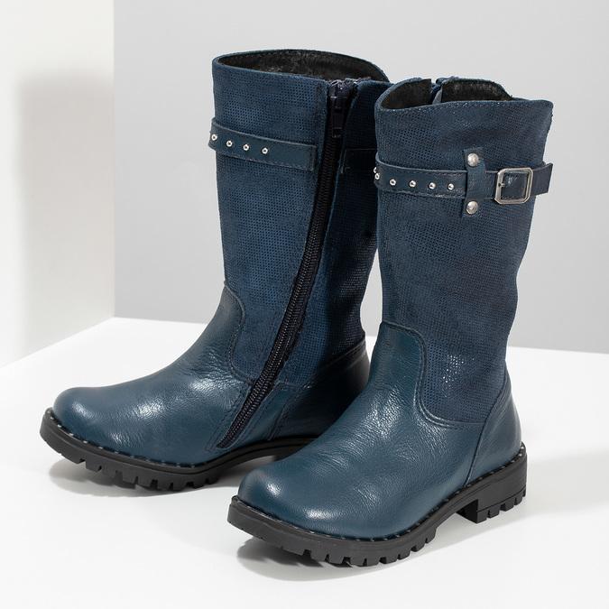 Dievčenské kožené modré zimné čižmy mini-b, modrá, 394-9200 - 16