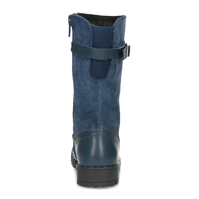 Dievčenské kožené modré zimné čižmy mini-b, modrá, 394-9200 - 15