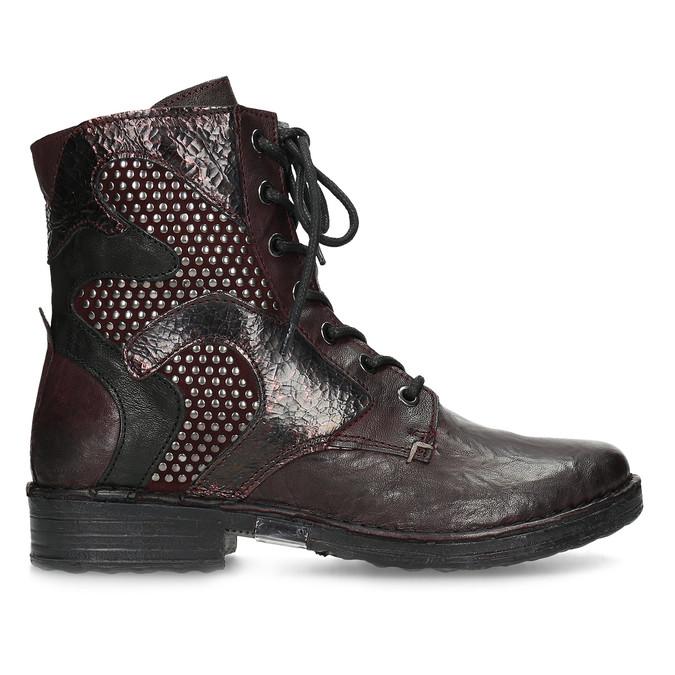 Vínová kožená dámska členková obuv bata, červená, 596-5741 - 19