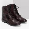 Vínová kožená dámska členková obuv bata, červená, 596-5741 - 26