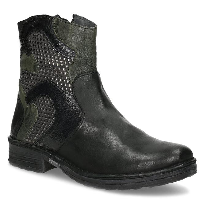 Kožená členková obuv s cvočkami bata, čierna, 596-6742 - 13
