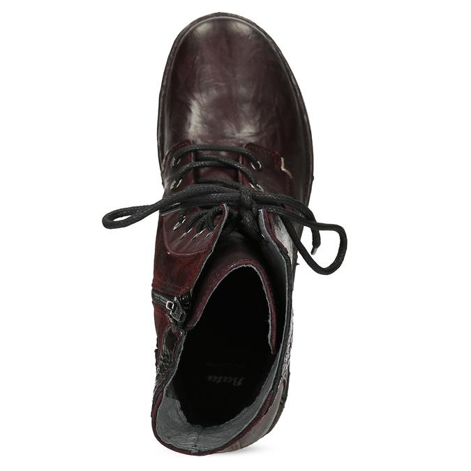 Vínová kožená dámska členková obuv bata, červená, 596-5741 - 17