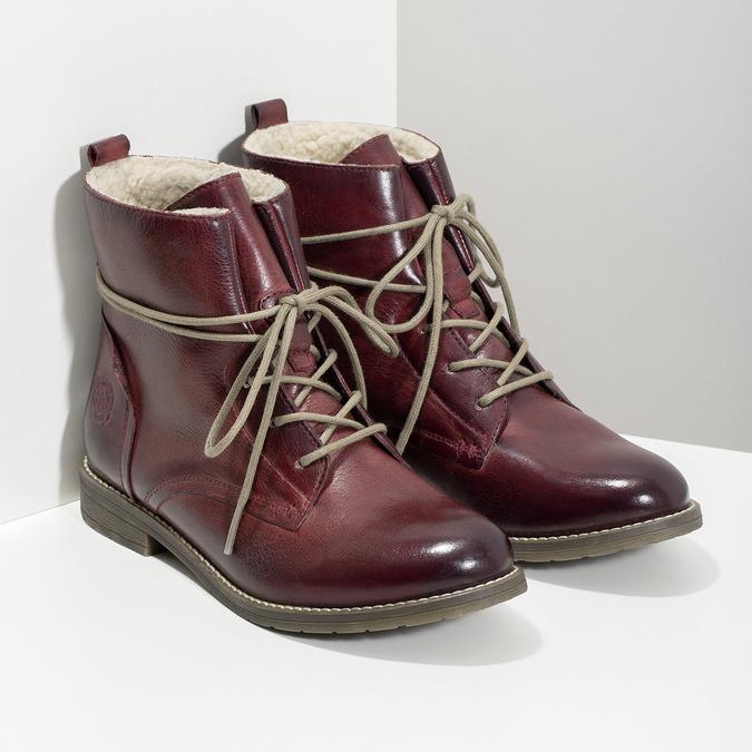 Kožená dámska členková obuv so zateplením bata, červená, 596-5702 - 26