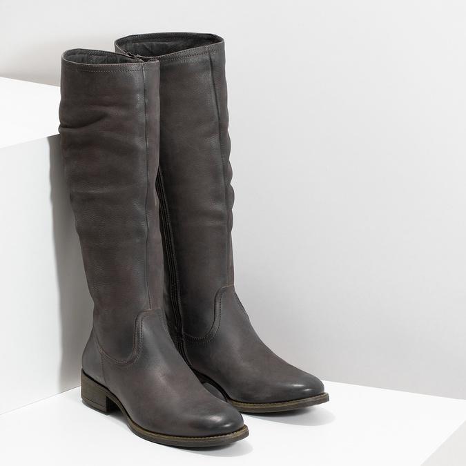 Kožené hnedé čižmy s prešitím bata, hnedá, 596-4700 - 26