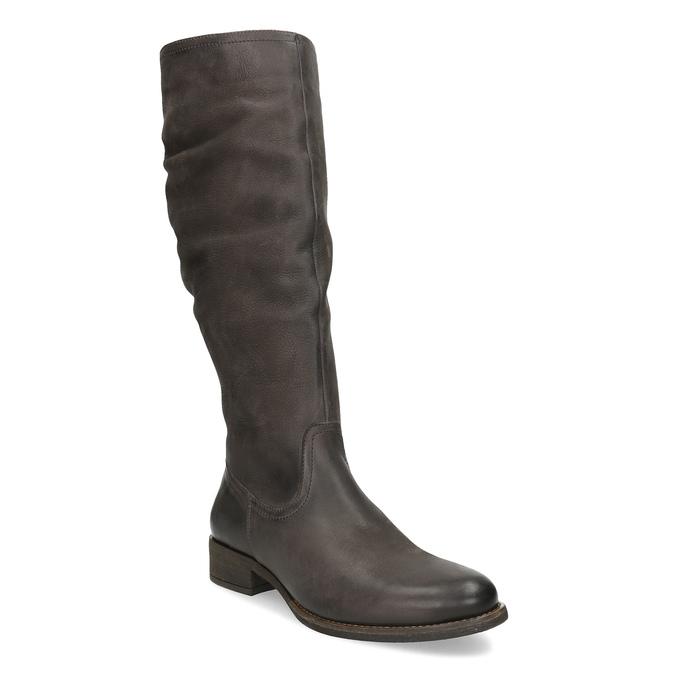 Kožené hnedé čižmy s prešitím bata, hnedá, 596-4700 - 13