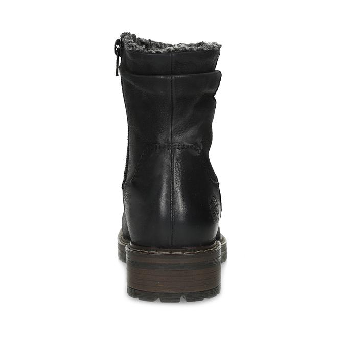 Kožené dámske zimné čižmy so zateplením bata, čierna, 596-6703 - 15