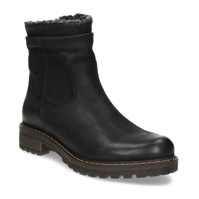 Kožené dámske zimné čižmy so zateplením bata, čierna, 596-6703 - 13