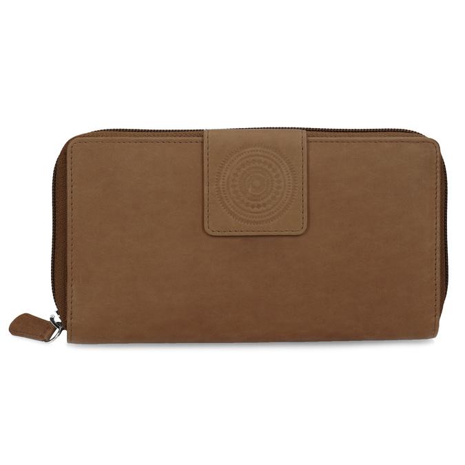Kožená dámska peňaženka s ornamentom bata, hnedá, 944-4615 - 26