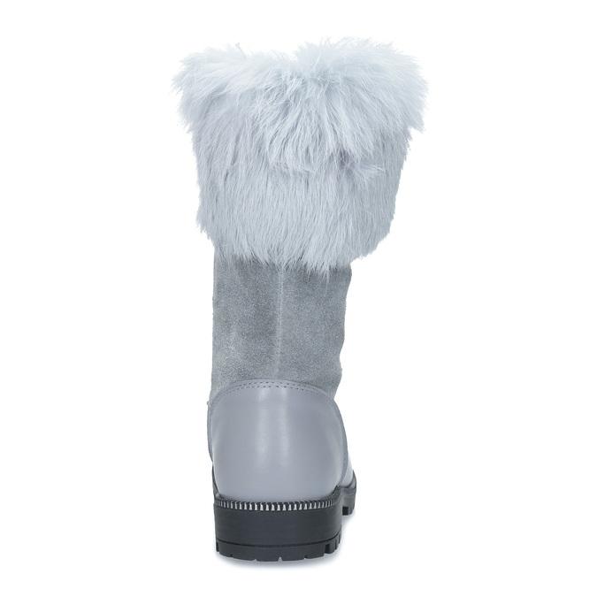 Detské kožené zimné čižmy s kožúškom mini-b, šedá, 394-2202 - 15