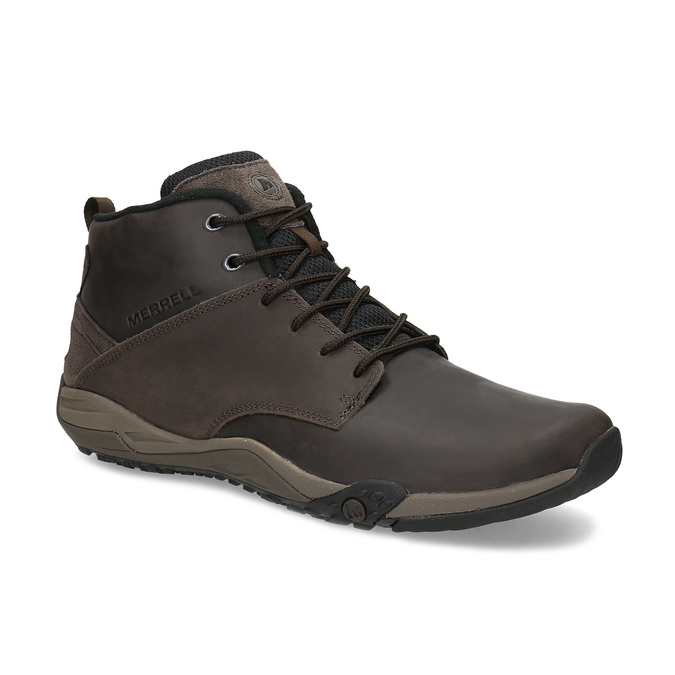Členková hnedá kožená pánska obuv merrell, hnedá, 806-4102 - 13