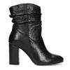 Čierne kožené čižmy s riasením bata, čierna, 794-6663 - 19