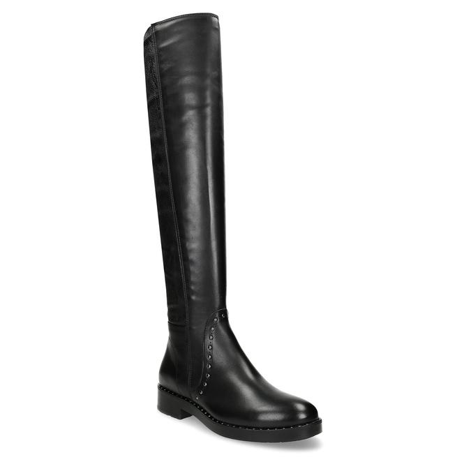 Čierne kožené čižmy s kovovými cvokmi bata, čierna, 596-6725 - 13