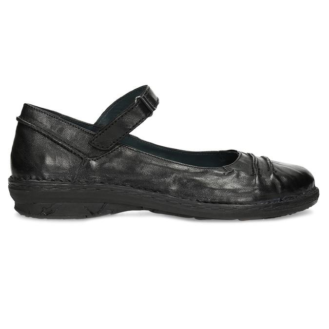 Kožené čierne baleríny s remienkom bata, čierna, 526-6664 - 19