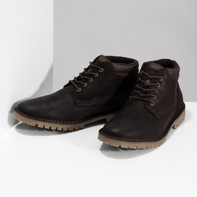 Hnedá pánska kožená členková obuv weinbrenner, hnedá, 896-4630 - 16