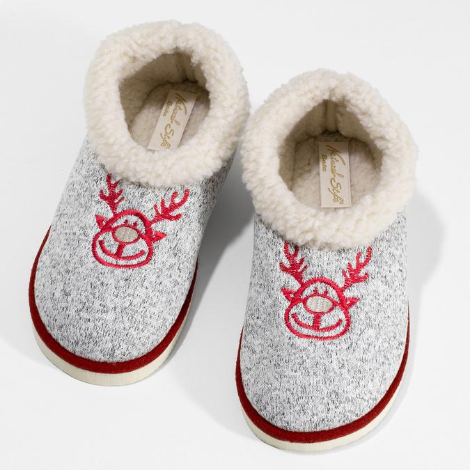 Dámska domáca obuv so zateplením bata, šedá, 579-2640 - 16