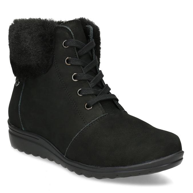 Členková dámska kožená obuv comfit, čierna, 596-6711 - 13