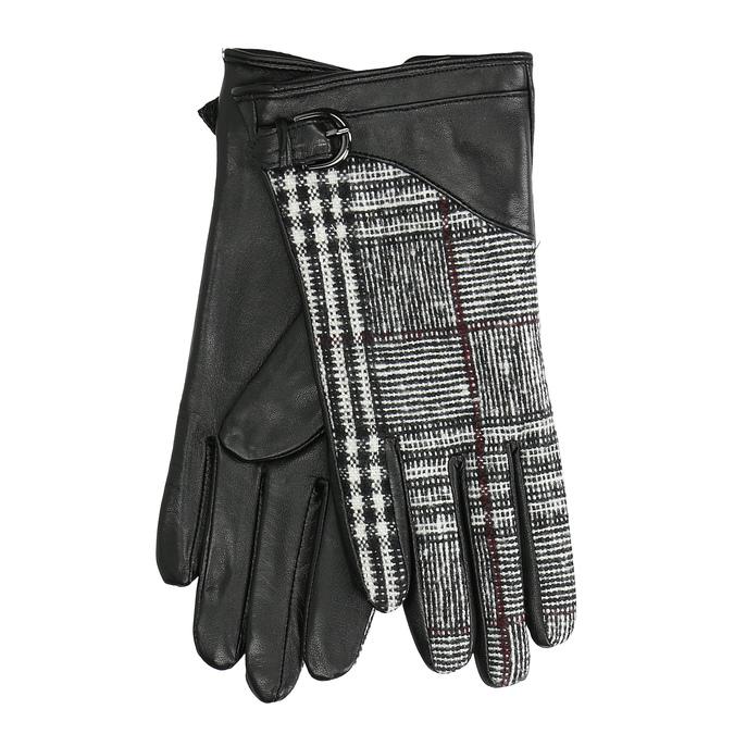 Dámske kožené čierne rukavice kárované bata, čierna, 904-6138 - 13