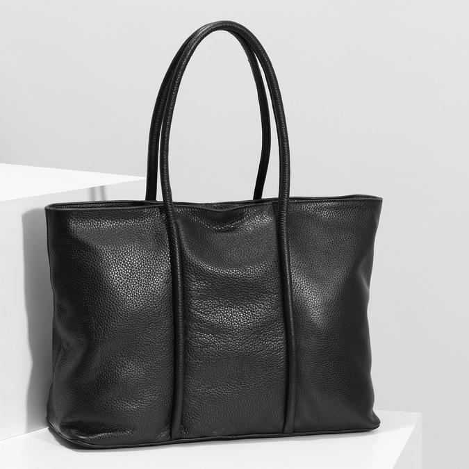 Čierna kožená kabelka bata, čierna, 964-6604 - 17