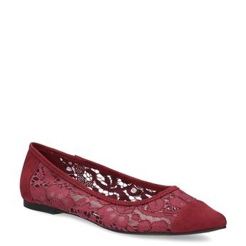 Vínové baleríny s čipkou do špičky bata-red-label, červená, 529-5643 - 13