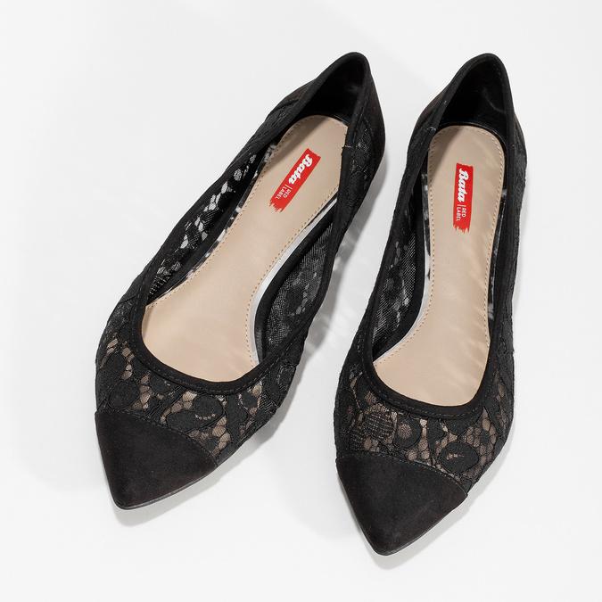 Čierne čipkované baleríny do špičky bata-red-label, čierna, 529-6643 - 16