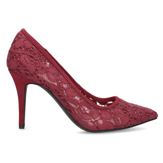 Vínové lodičky do špičky s čipkou bata-red-label, červená, 729-5631 - 19