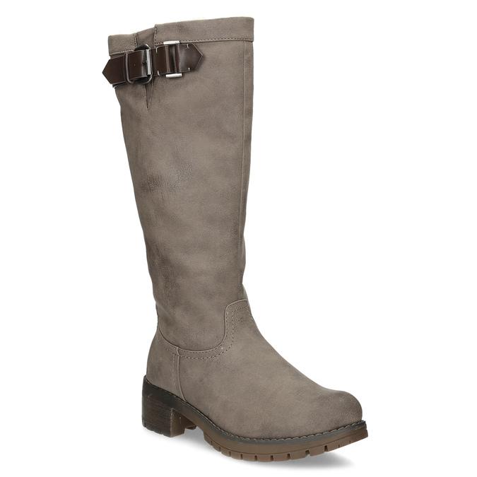 Béžové dámske čižmy s kožúškom bata, hnedá, 691-3643 - 13