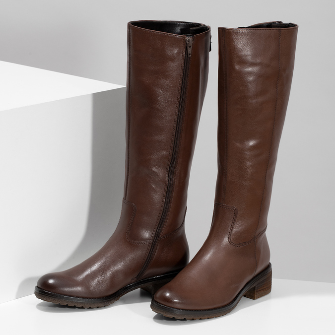 Kožené dámske hnedé čižmy gabor, hnedá, 696-3183 - 16