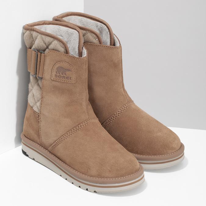 Hnedé dámske kožené topánky sorel, hnedá, 693-3080 - 26