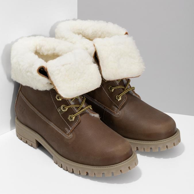 Dámska hnedá kožená zimná obuv weinbrenner, hnedá, 596-3743 - 26