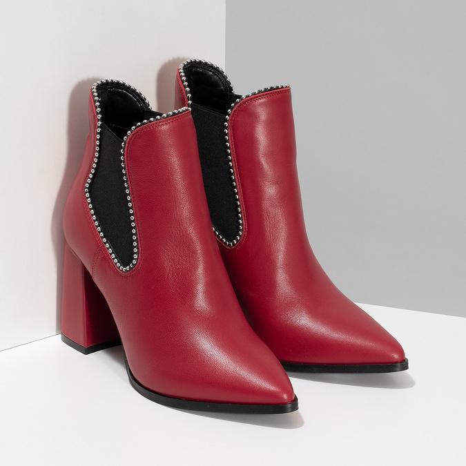 Červené členkové čižmy v Chelsea štýle bata, červená, 794-5609 - 26