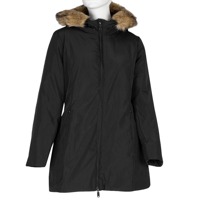 Dlhá dámska bunda s kapucňou a kožúškom bata, čierna, 979-6355 - 13