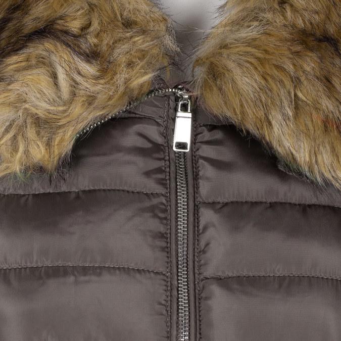 Dámska khaki bunda s prešívaním a kožúškom bata, hnedá, 979-8325 - 16