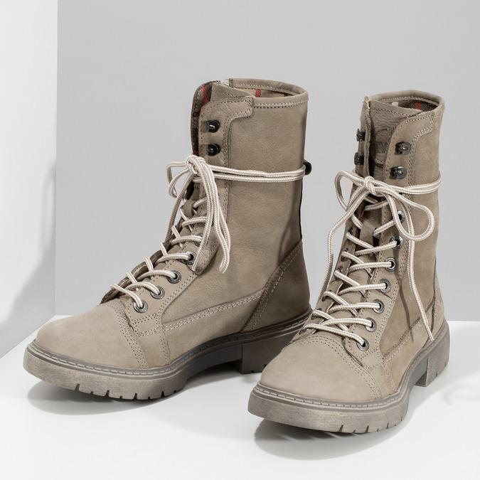 Béžová kožená dámska obuv vysoká weinbrenner, béžová, 596-8746 - 16