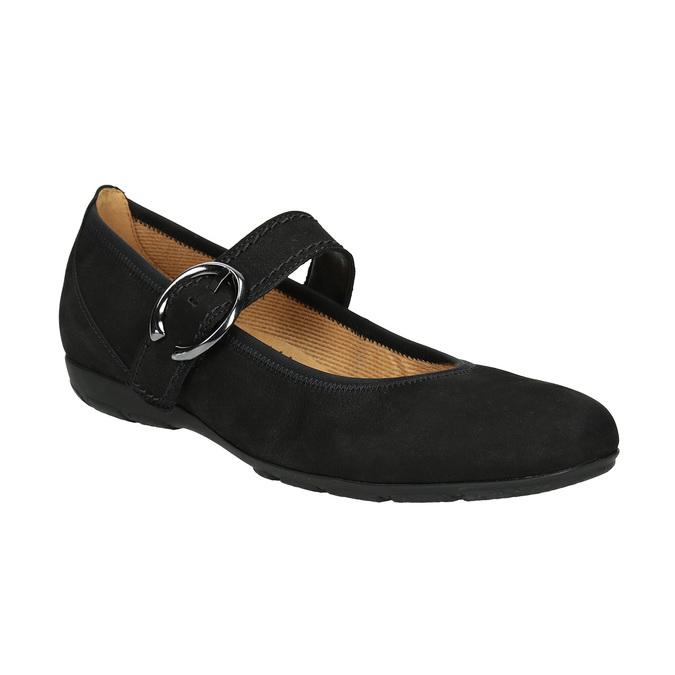 Kožené baleríny s remienkom cez priehlavok gabor, čierna, 514-6118 - 13