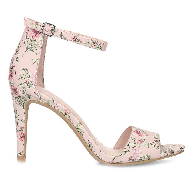 Ružové sandále na ihličkovom podpätku so vzorom bata-red-label, ružová, 761-5626 - 19