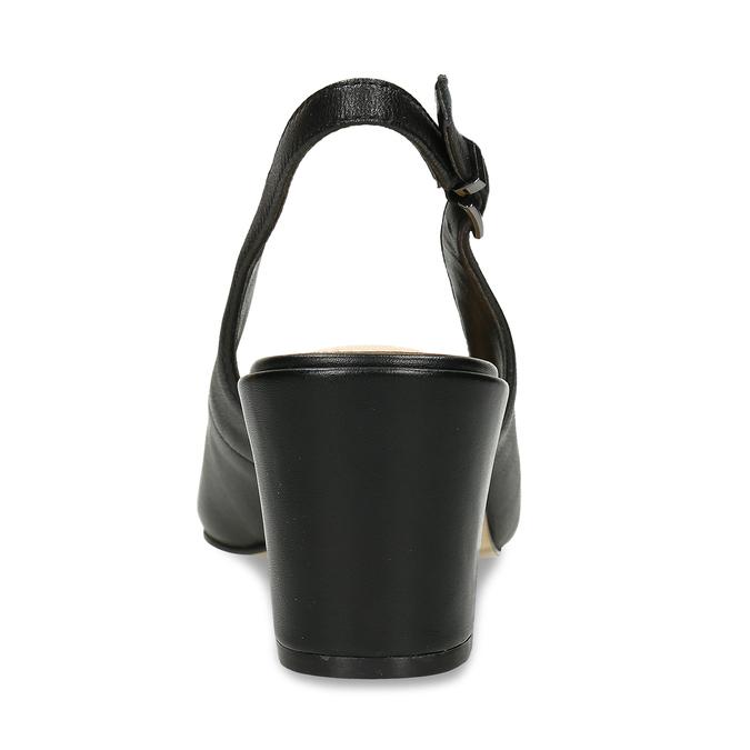 Čierne kožené lodičky s otvorenou pätou insolia, čierna, 624-6647 - 15