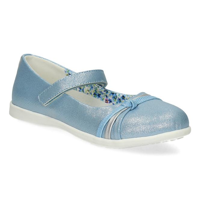 Modré detské baleríny s ozdobnými remienkami mini-b, modrá, 321-9640 - 13
