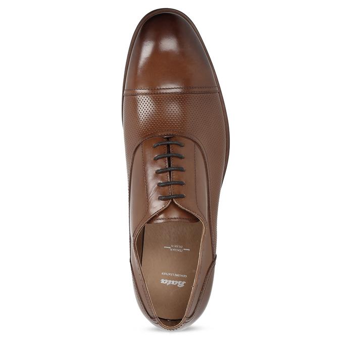 Hnedé kožené Oxford poltopánky s perforáciou bata, hnedá, 826-3834 - 17