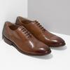 Hnedé kožené Oxford poltopánky s perforáciou bata, hnedá, 826-3834 - 26