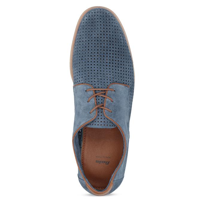 Modré pánske poltopánky z brúsenej kože bata, modrá, 823-9652 - 17