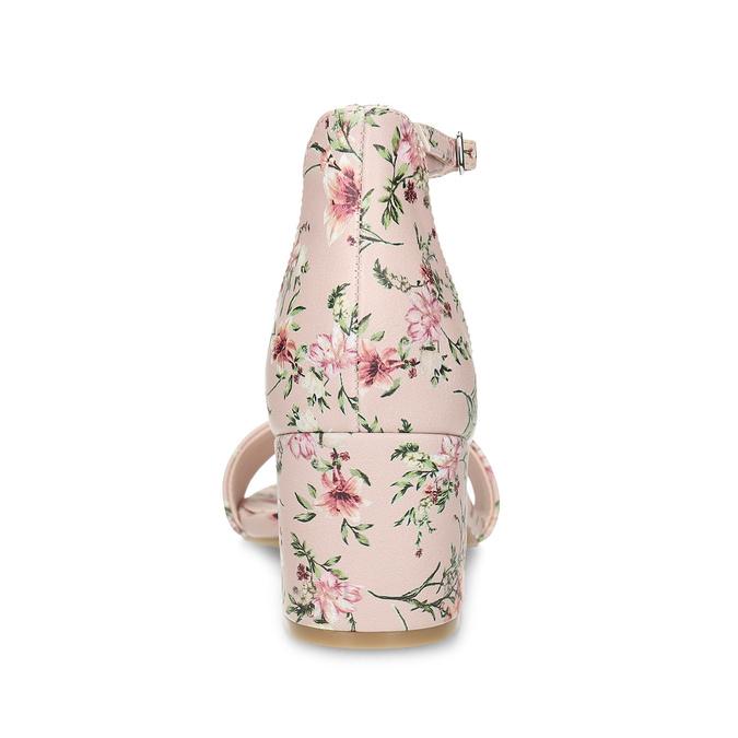 Ružové sandále na podpätku s kvetinovým vzorom bata-red-label, ružová, 661-5615 - 15