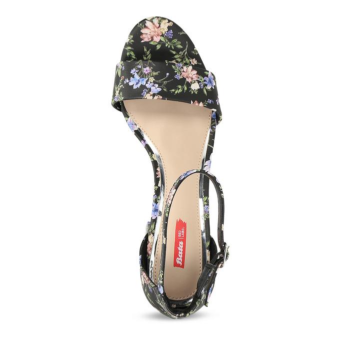 Čierne sandále na podpätku s kvetinovým vzorom bata-red-label, viacfarebné, 661-6615 - 17